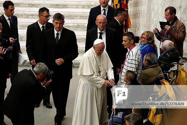 Fratello pilgrimage in Rome. Pope Francesco meeting homeless people.