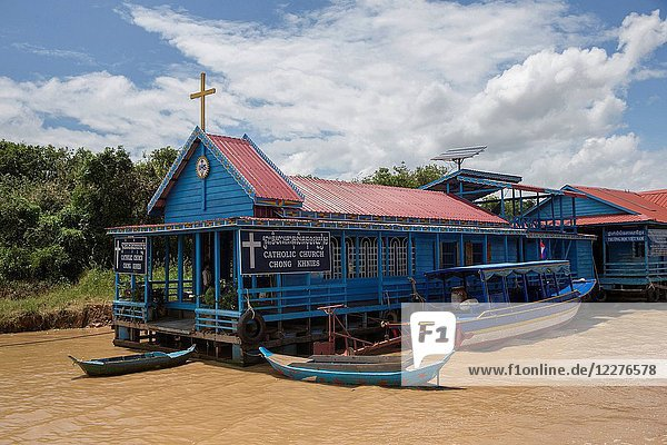 Chong Khnies floating catholic church on the Tonle Sap lake.