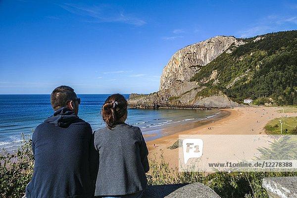 Laga Beach. In the background Ogoño cape. Urdaibai biosphere Reserve. Urdaibai. Region. Bizkaia. Basque Countray. Spain.