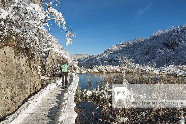 Woman on a wooden walkway of Plitvice Lakes National Park  Plitvicka Jezera  Lika and Senj County  Croatia.