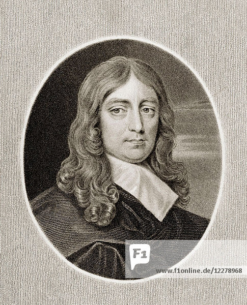 John Milton (1608-1674). English poet. From the book 'Gallery of Portraits' published London 1833.