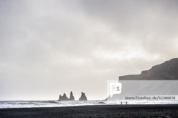 View of Reynisdrangar rocks from black sands beach in Vík (region of Suðurland  Iceland).