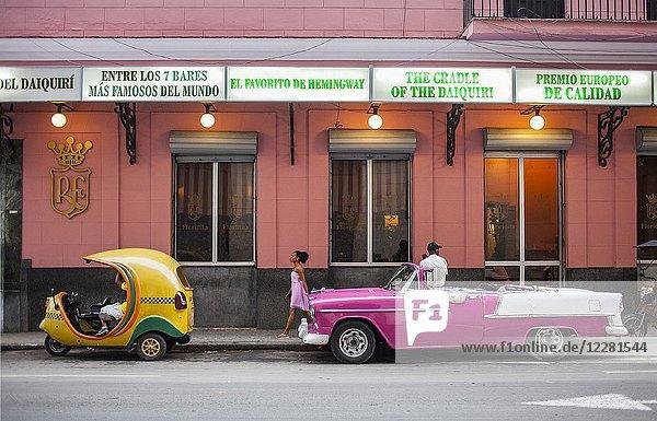 Facade of Floridita Bar,  Hemingway's favorite bar in Old Havana,  Habana Vieja,  La Habana,  Cuba.