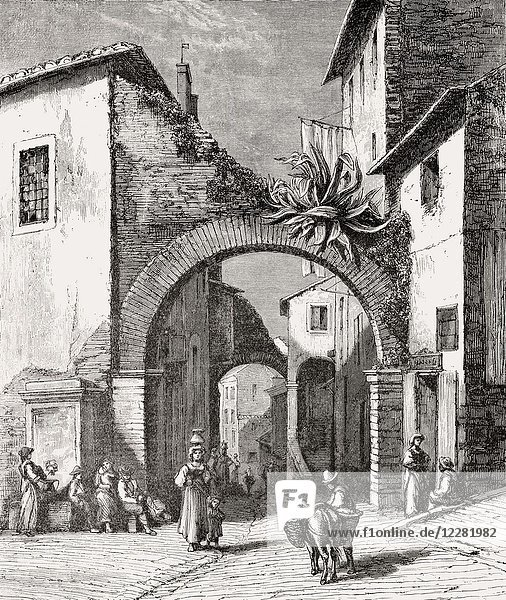 A street in Tivoli  Metropolitan City of Rome  Lazio  Italy  19th Century.