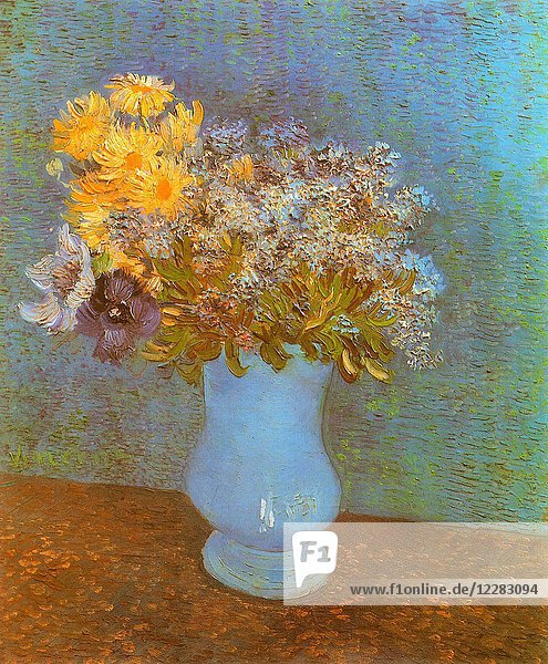 Vase with Lilacs  Daisies and Anemones