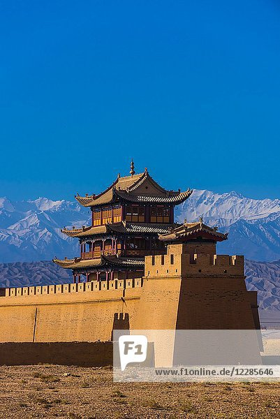 Jiayuguan Fort is the western end of the Great Wall built in the Ming Dynasty (1368 - 1644). It was an important military fortress and key waypoint of the ancient Silk Road. This was the last major stronghold of Imperial China. Gansu Province  China.