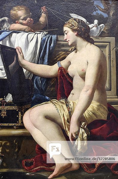 The Toilet of Venus  oil on canvas by Simon Vouet(1590-1649)  Gemaldegalerie  Berlin  Germany.