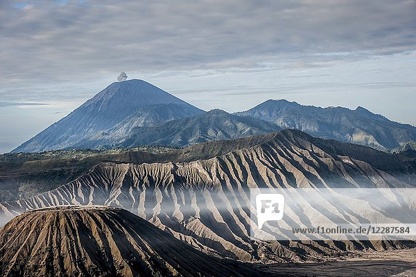 View of Mt. Semeru  Batok and Widodaren in Bromo Tengger Semeru National Park (East Java  Indonesia).