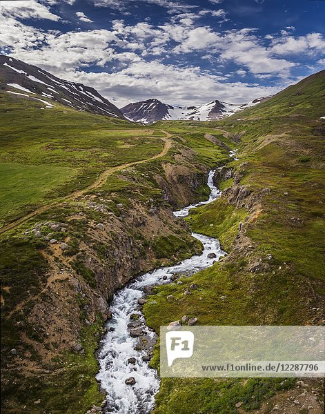 Landscape  Karlsa River  Eyjafjordur  Iceland. This image is shot using a drone.