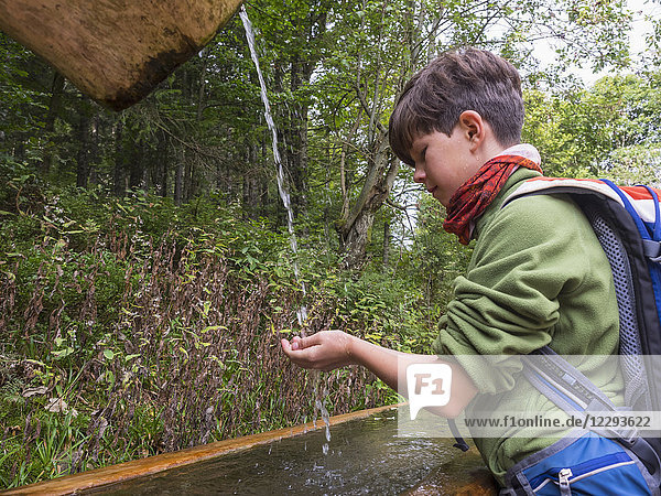 Girl drinking water from source in black forest  Feldberg  Baden-Württemberg  Germany