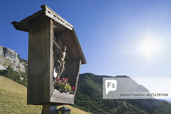 Traditional Jesus crucifix in the mountains