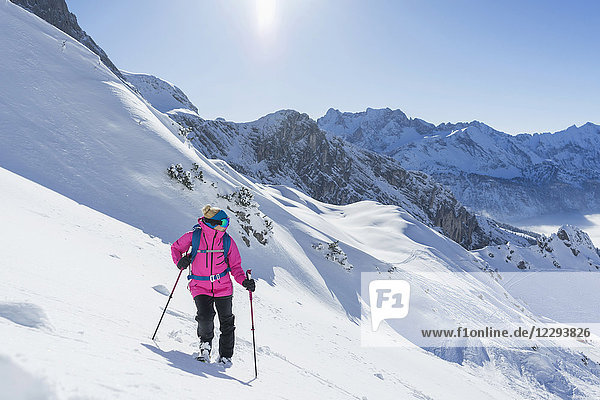 Woman on skiing slope