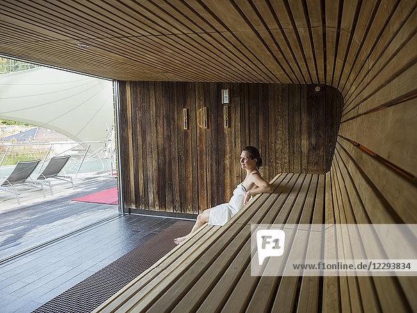 Woman relaxing in sauna of Palais-Thermal  Bad Wildbad  Baden-Württemberg  Germany