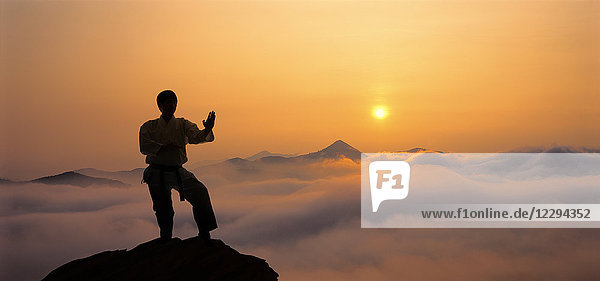 Image composite of Japanese karate athlete