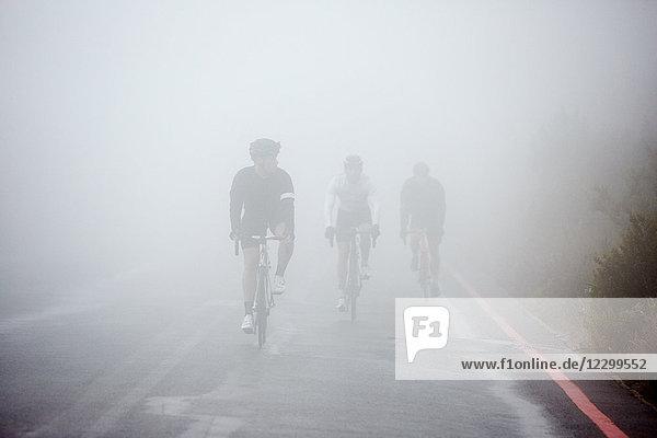 Dedicated male cyclists cycling on rainy  foggy road