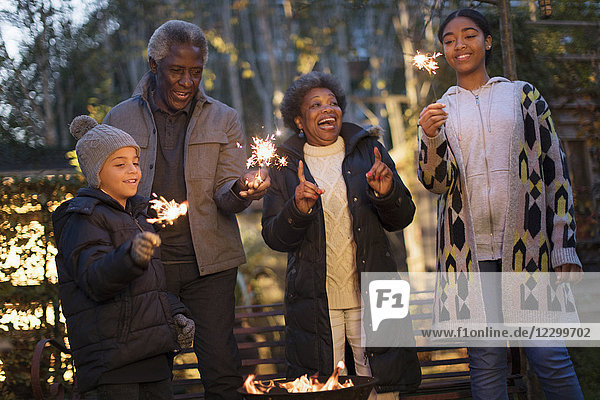 Grandparents and grandchildren playing with firework sparklers