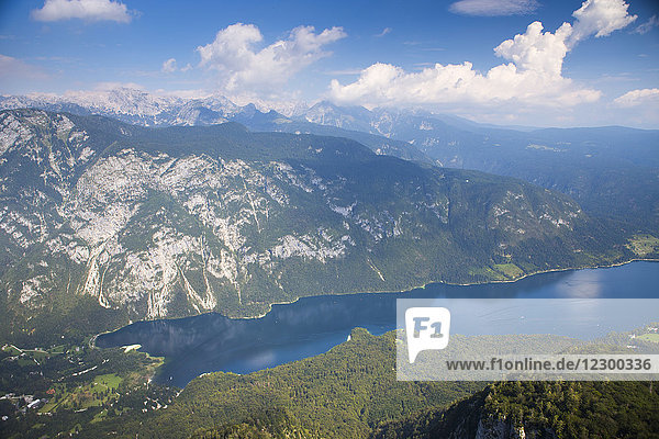 Lake Bohinj as seen from mount Vogel  largest permanent lake located in Bohinj Valley of Julian Alps  Triglav National Park  Slovenia