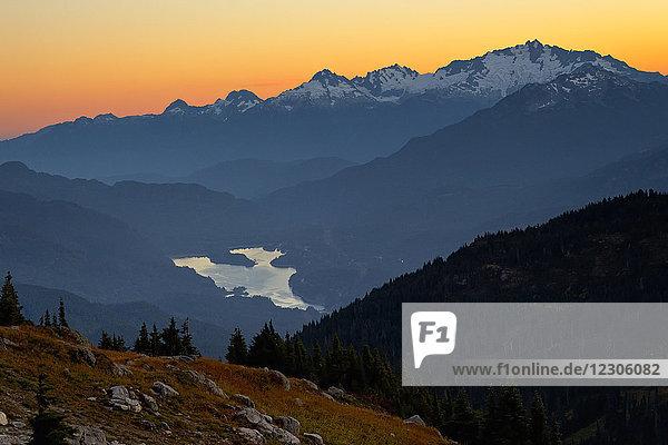 Alpine mountain landscape at sunset  Whistler  BC  Canada