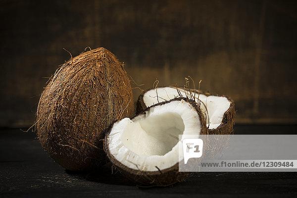 Geöffnete Kokosnuss  Nahaufnahme