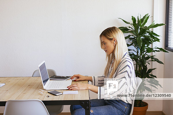 Blond office worker sitting at desk  using laptop