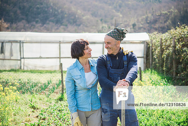 Mature couple in vegetable garden