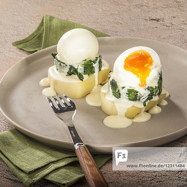 Grated samba-potatoe slice with boiled eggs by the cook Jean-Pierre Vidal