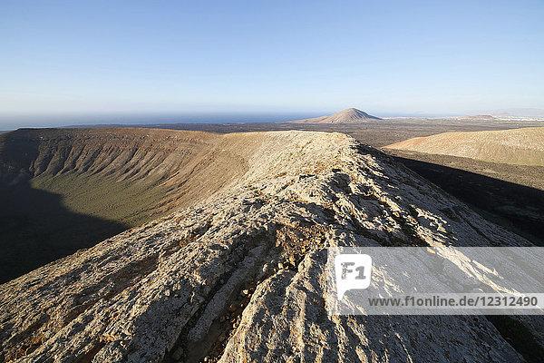 Spain. Canary Islands. Lanzarote. Natural park of volcanoes. Caldera blanca. Montana Blanca volcanic crater.