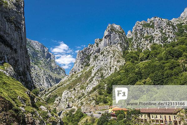 Spain  National park of los Picos de Europa  Bulnes mountains from Camarmena
