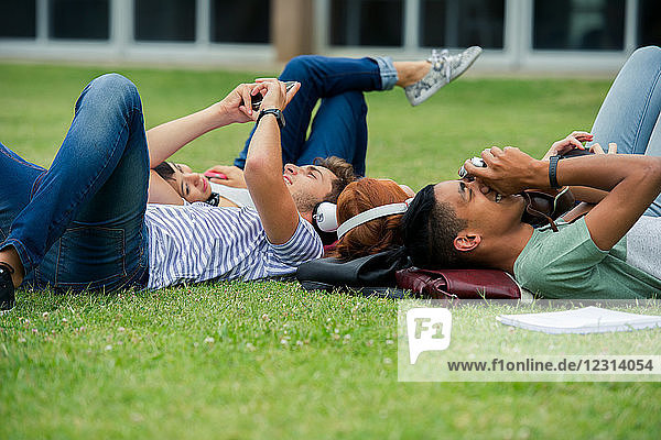 College students relaxing together on lawn between classes