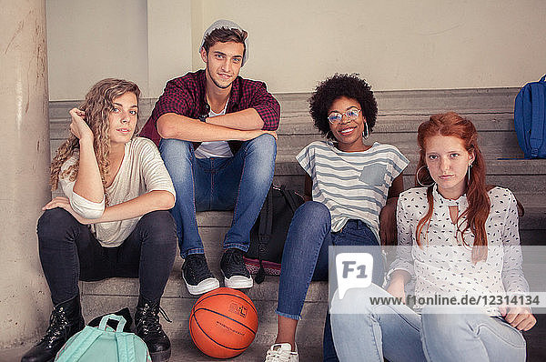 Group of friends hanging out together after school  portrait