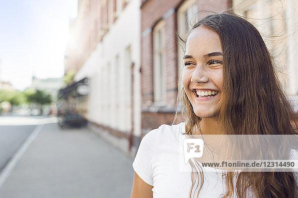 Portrait of teenage girl (14-15) in city Portrait of teenage girl (14-15) in city