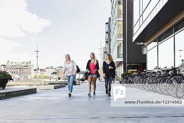 Three women walking together