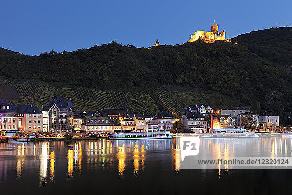 View over Moselle River to Bernkastel-Kues  ruins of Landshut Castle  Rhineland-Palatinate  Germany  Europe
