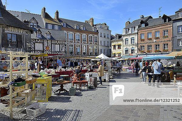 Flea Market (Brocante)  Place Sainte Catherine  Honfleur  Calvados  Basse Normandie (Normandy)  France  Europe