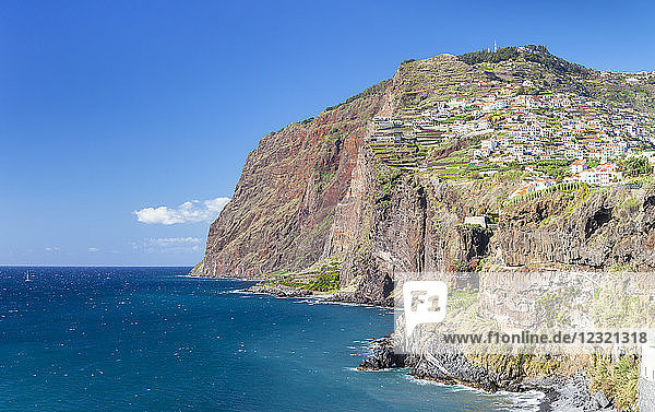 View of the high sea cliff headland Cabo Girao on the south coast of Madeira  Portugal  Atlantic  Europe
