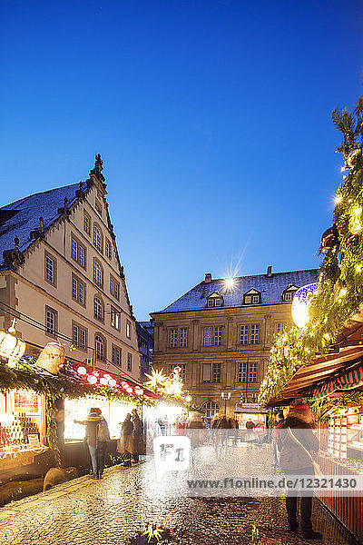 Christmas market at Schillerplatz  Stuttgart  Baden-Wurttemberg  Germany  Europe