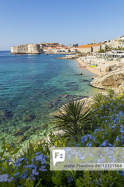 View over Banje Beach and the old town of Dubrovnik in the background  Croatia  Europe