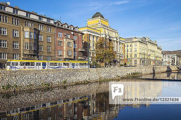 Buildings of Bascarsija (The Old Quarter)  on the banks of the Miljacka River  Sarajevo  Bosnia and Herzegovina  Europe
