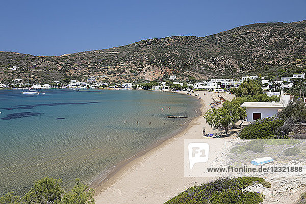 View over Vathi beach  Vathi  Sifnos  Cyclades  Aegean Sea  Greek Islands  Greece  Europe
