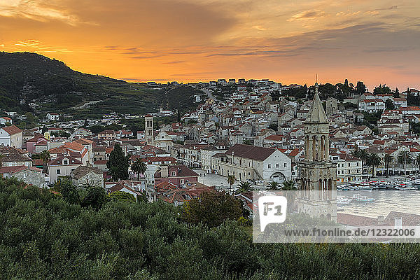 Elevated view over the old town of Hvar Town at sunrise  Hvar  Croatia  Europe