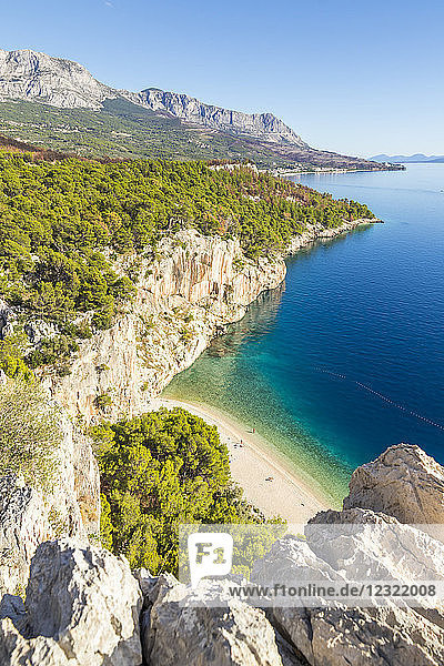 Elevated view over Nugal Beach near Makarska  Croatia  Europe