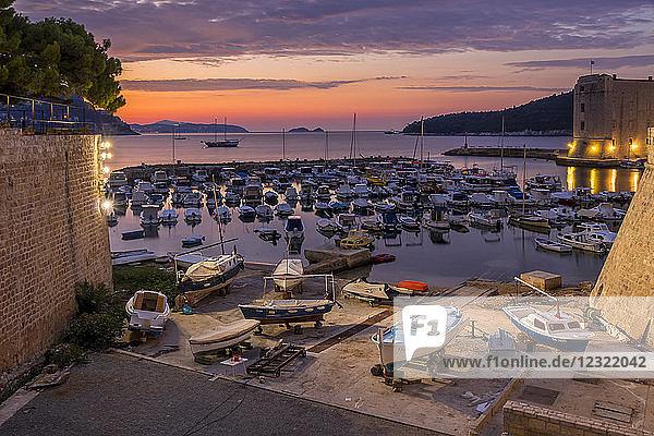 The old port at sunrise  Dubrovnik  Croatia  Europe
