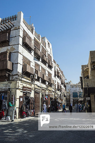 Traditional houses in the old town of Jeddah  UNESCO World Heritage Site  Saudi Arabia  Middle East