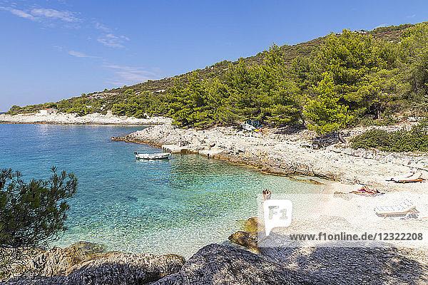 Elevated view over Mekicevia Beach near Hvar Town  Hvar  Croatia  Europe
