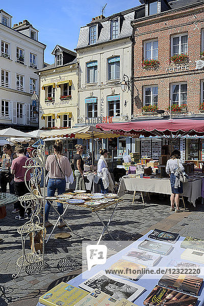 Flea Market (Brocante)  Place Sainte Catherine  Honfleur  Calvados  Basse Normandie (Normandy)  France  Europe