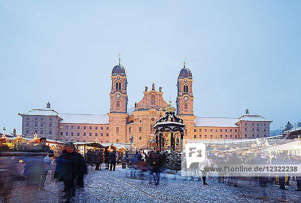 Einsiedeln Abbey Benedictine Monastery and Christmas market  Einsiedeln  Schwyz  Switzerland  Europe