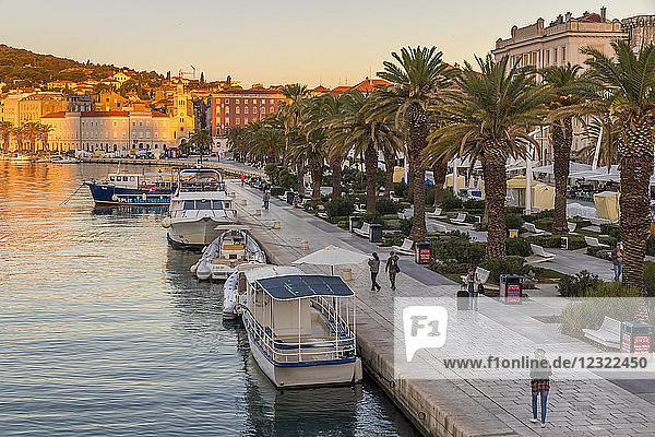 The seaside promenade of Split at sunrise  Split  Croatia  Europe