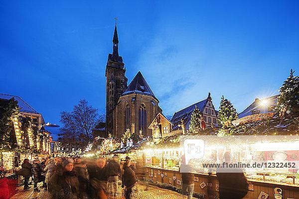 Collegiate Church (Stiftskirche)  Christmas market  Schillerplatz  Stuttgart  Baden-Wurttemberg  Germany  Europe