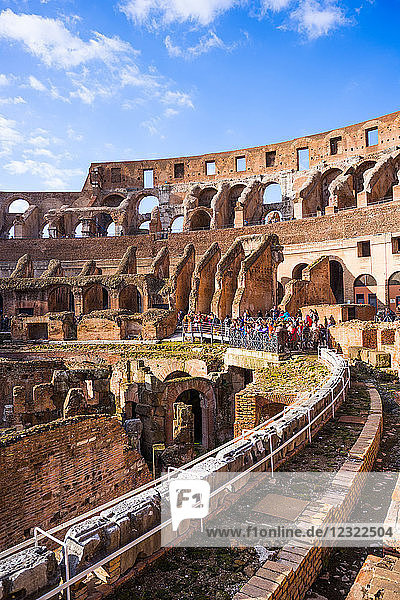 The Colosseum (Flavian Amphitheatre)  with the below ground level hypogeum  UNESCO World Heritage Site  Rome  Lazio  Italy  Europe