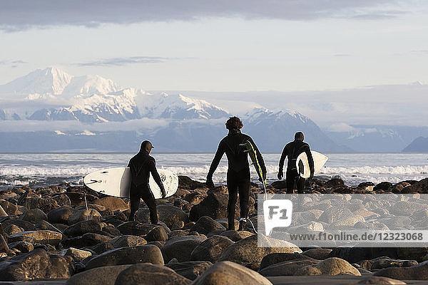 Surfers on rocky beach with Fairweather Range in the background  Southeast Alaska; Yakutat  Alaska  United States of America